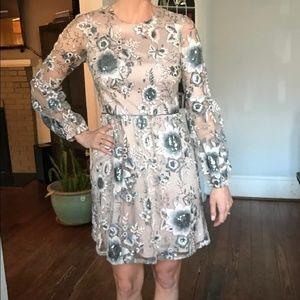 Dresses & Skirts - Aiden Mattox long sleeve beaded blush dress